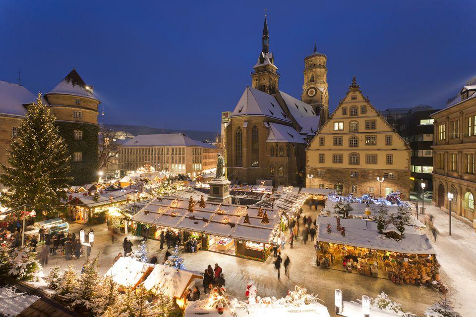 Germany, Baden-Wrttemberg, Stuttgart, View of market in christmas at night