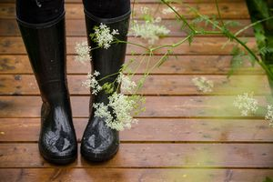 Closeup of woman's feet in black rubber boots on a wet wooden bridge in the park. Rain. - stock photo