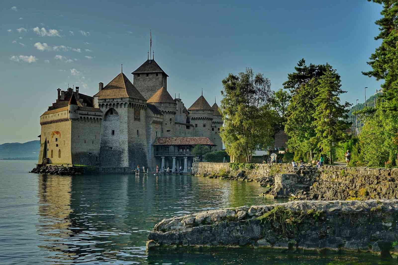 Exterior of Château Chillon with lakeshore