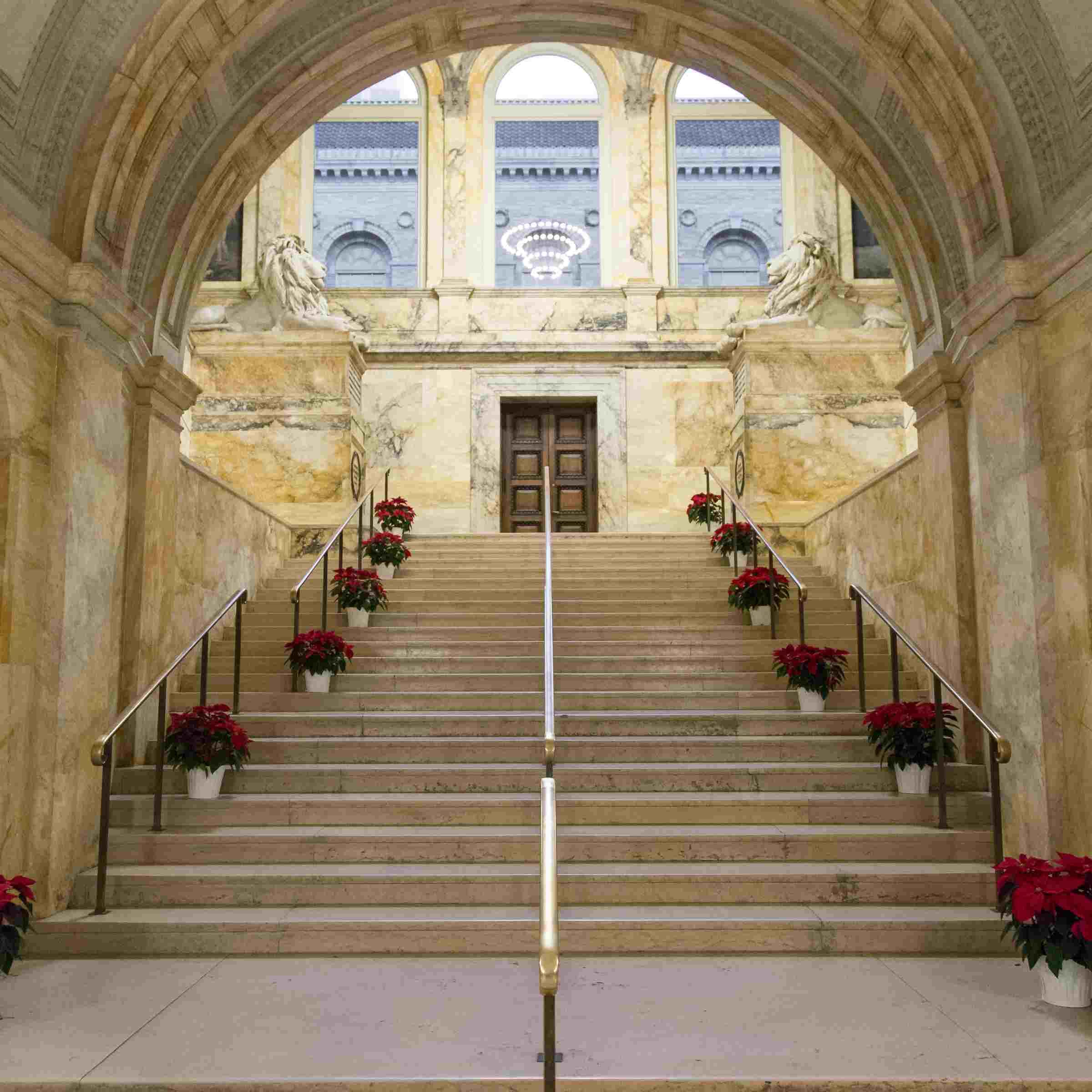 Treppen, gesäumt mit Poinsettien in der Boston Public Library