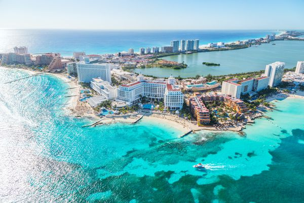 Aerial view of Cancun hotel zone, Mexico