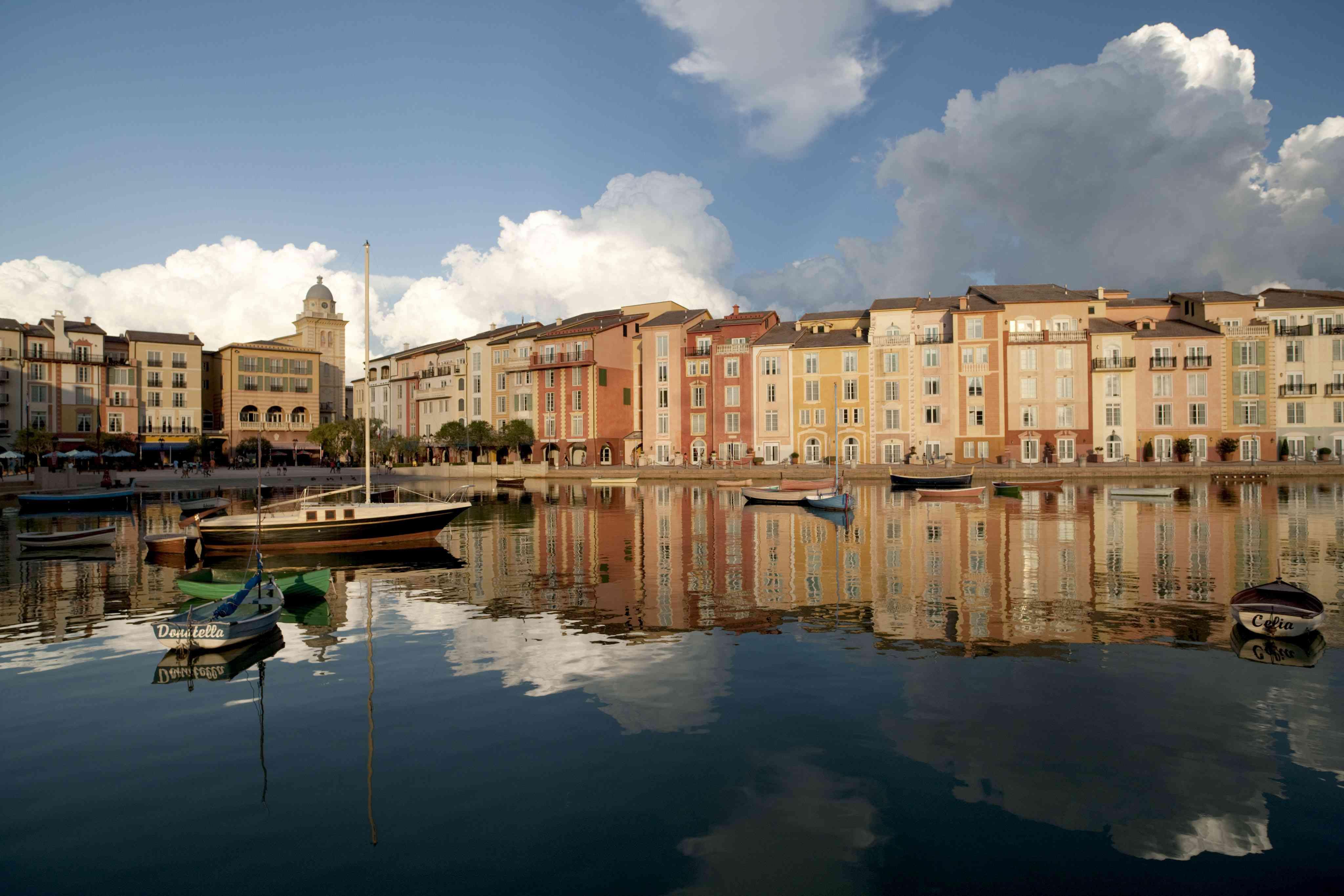 Universal Orlando Portofino Bay Hotel with cobblestone streets and outdoor cafes,