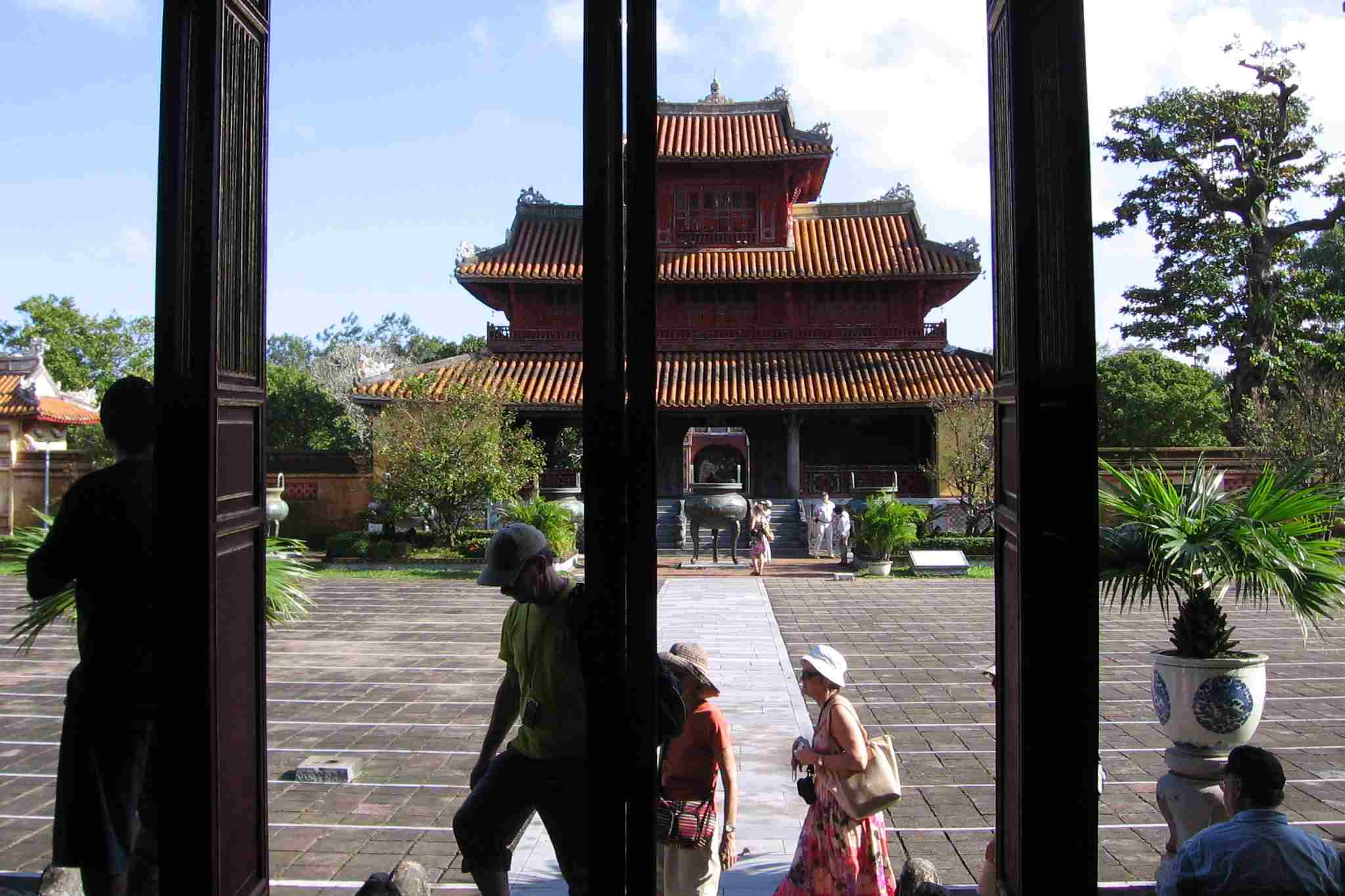 Hien Lam Pavilion and Nine Dynastic Urns, as seen from The To Mieu temple.