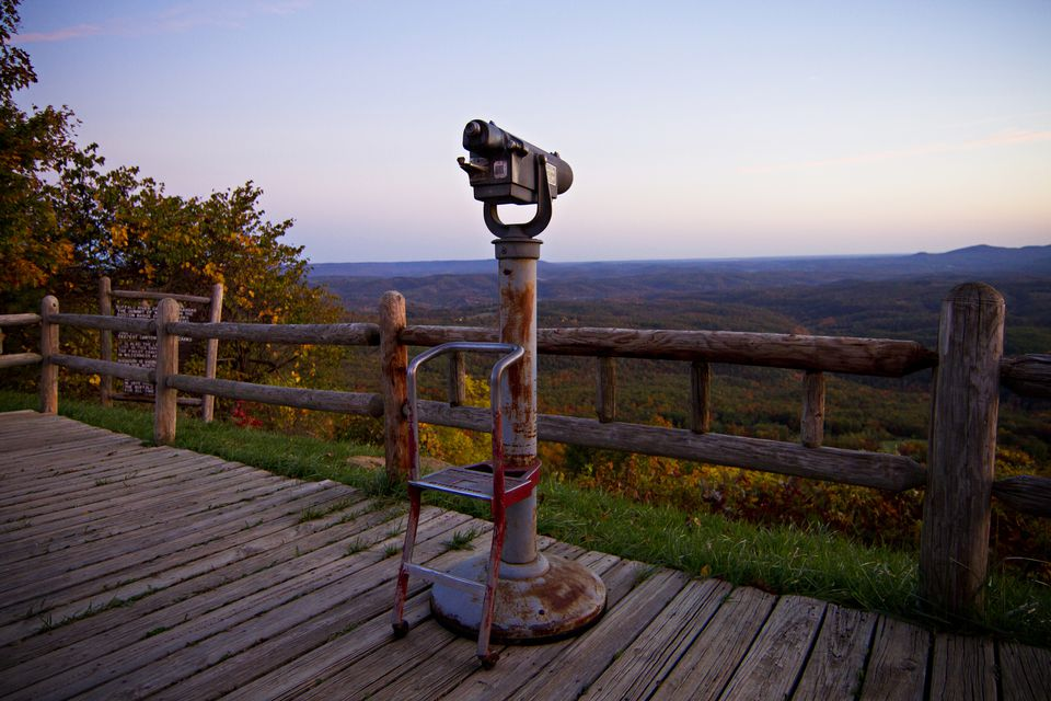 Coin-operated telescope at a Highway 7 public viewing point in the Ozark Mountains of Arkansas.