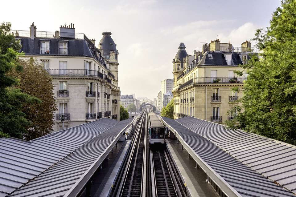 Paris train pulling into station with city background