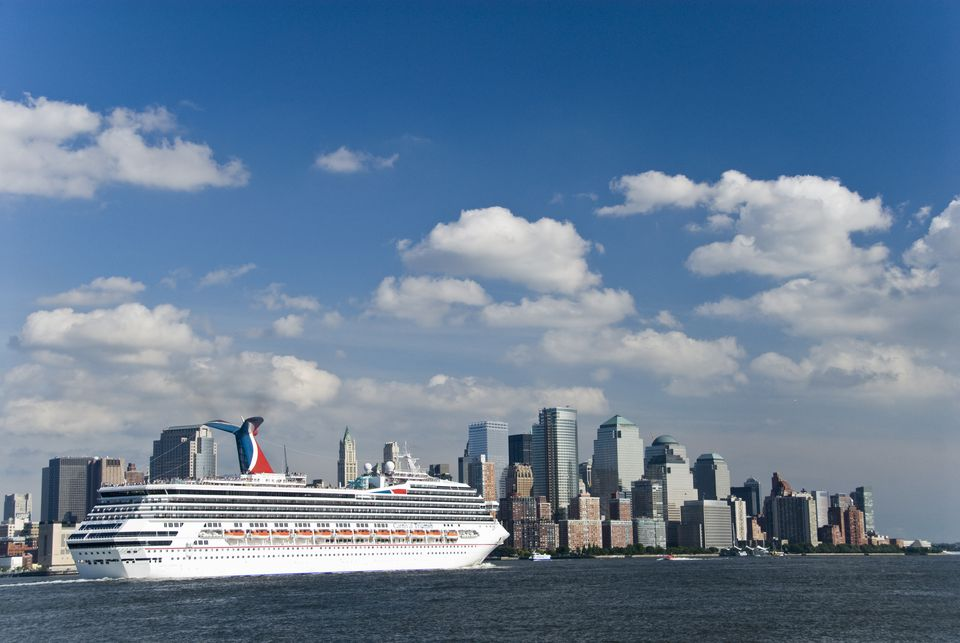 Carnival Triumph Cruise Ship sailing from New York City on Hudson River