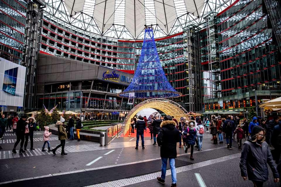 Christmas market inside Potsdamer Platz