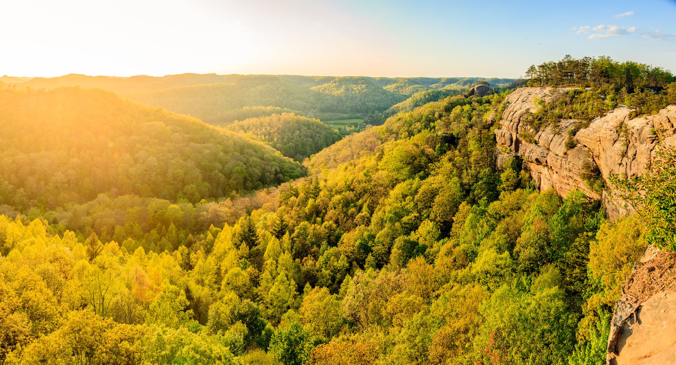 Panoramic view from the ridge top at Red River Gorge in Kentucky