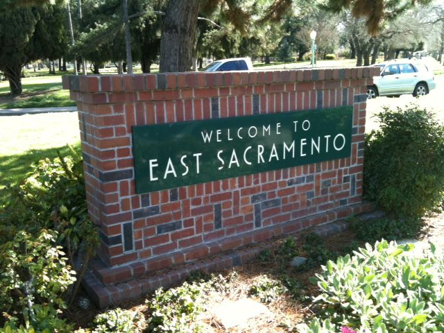 East Sacramento near a bus stop.