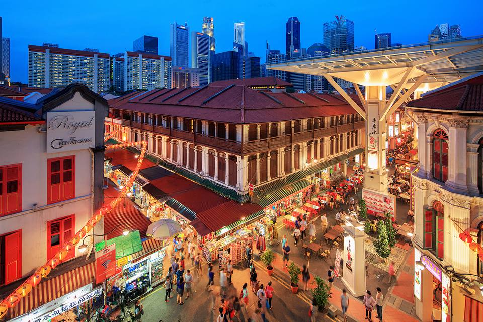 dd9bf25c6 Elevated view of Chinatown street market at night