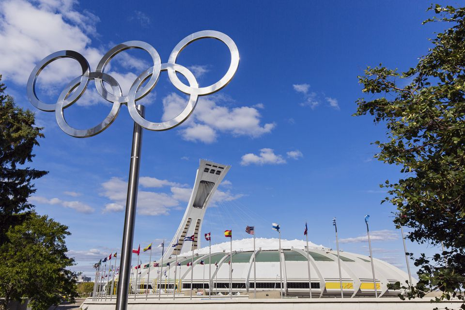 Canada, Quebec province, Montreal, Olympic Park, the Olympic rings and the stadium dating from the Summer Olympics 1976
