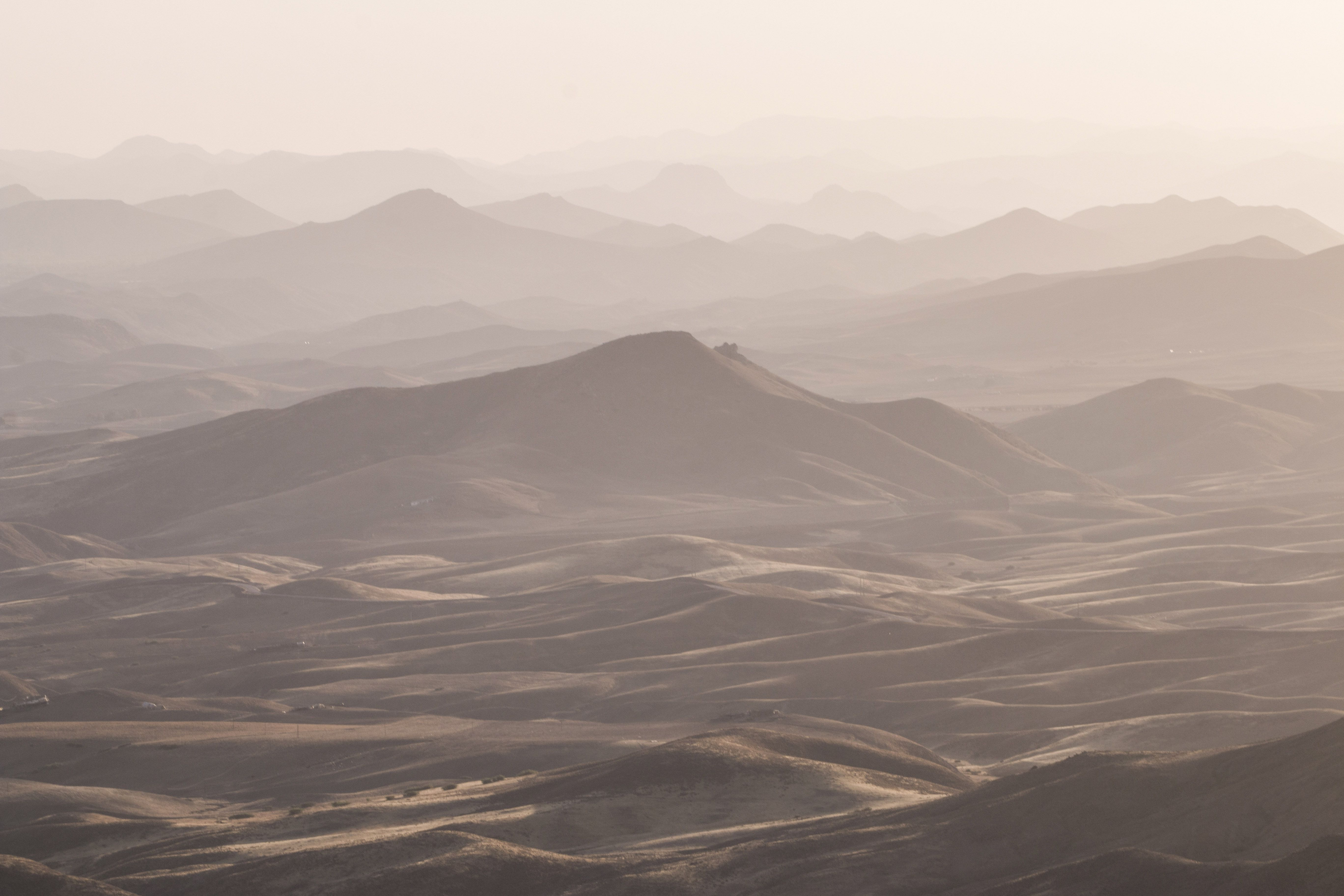 A view of misty atlas mountains stretching into the distance