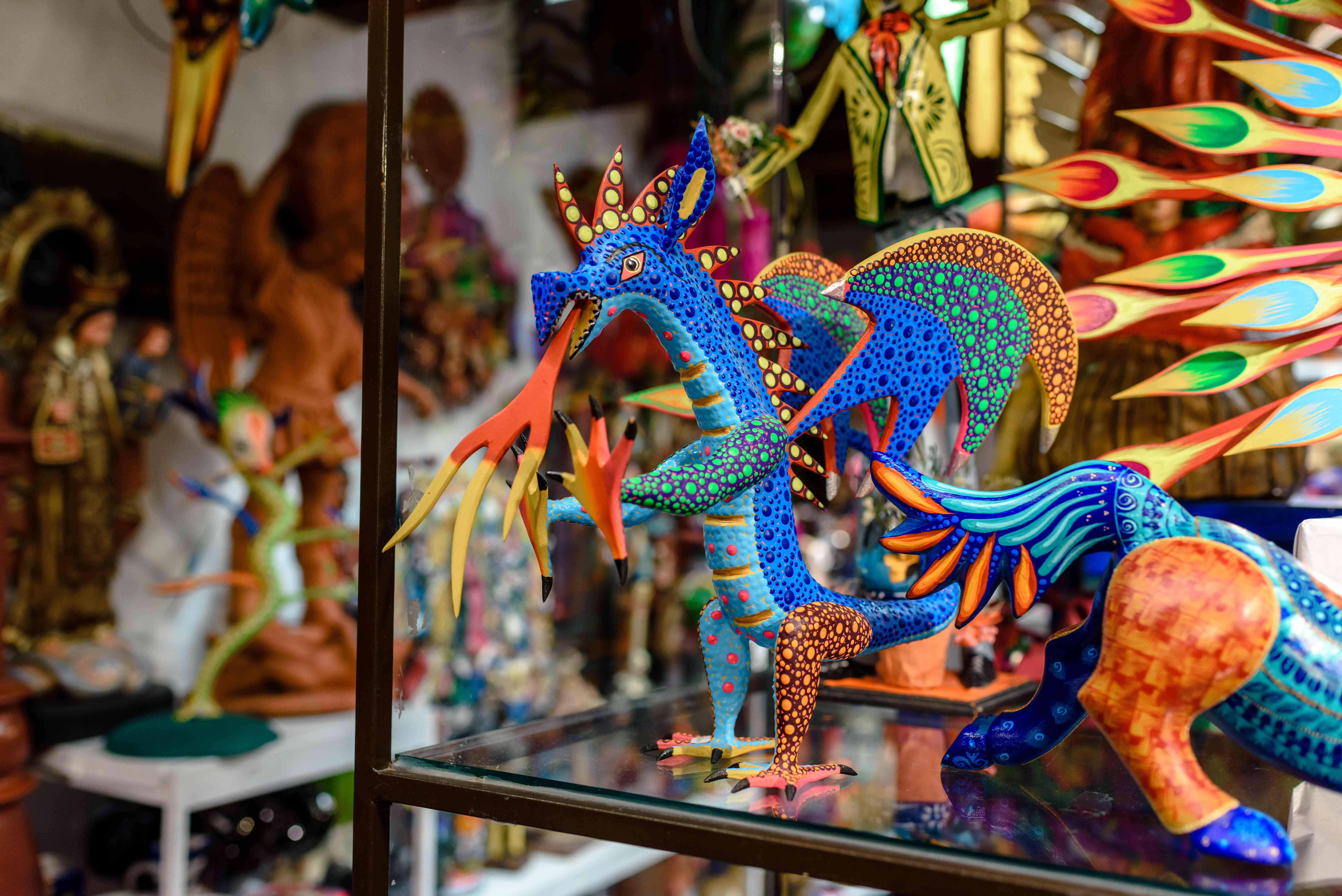 colorful figurines for sale at El bazar sabado