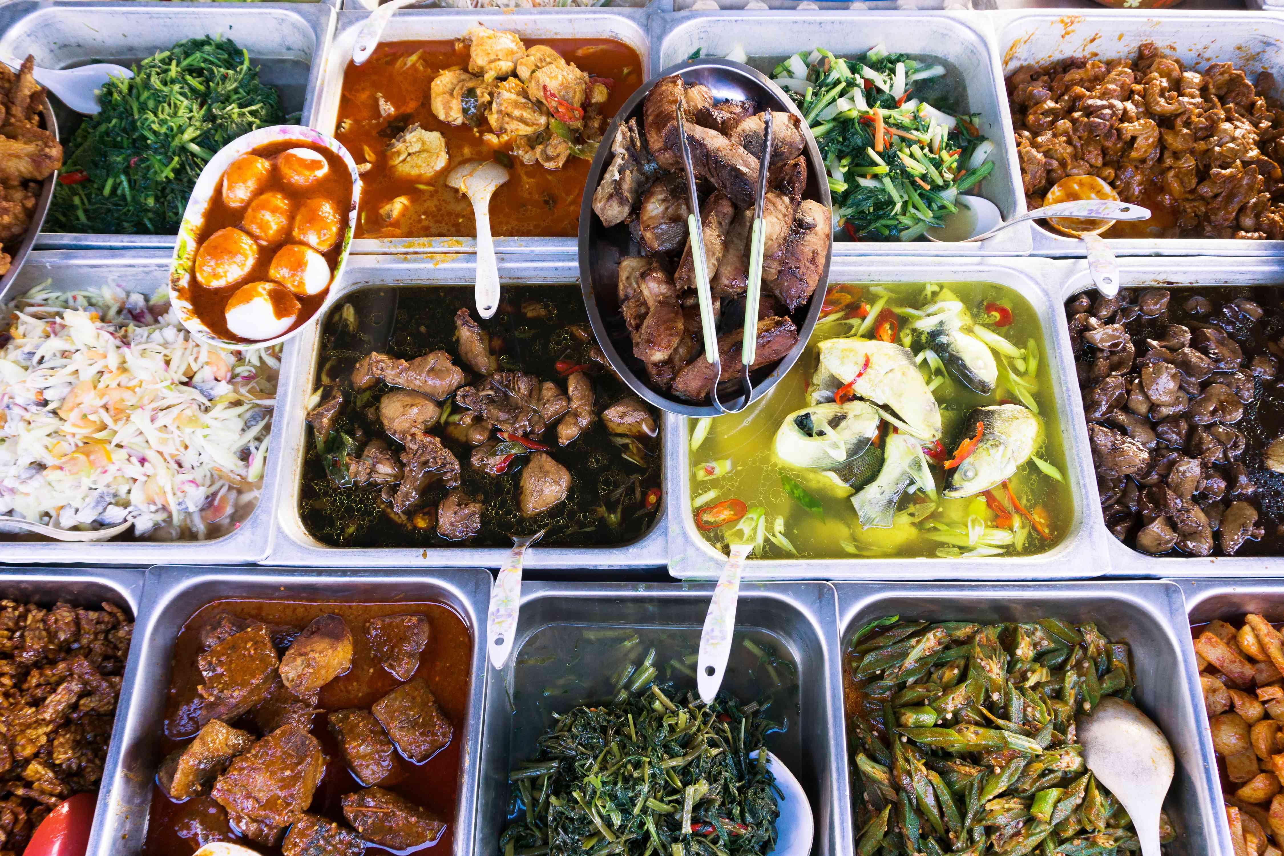 Assortment of nasi campur / Malaysian food choices