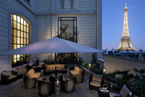 The deck at the Shangri-La Hotel, Paris, with the Eiffel Tower in the background