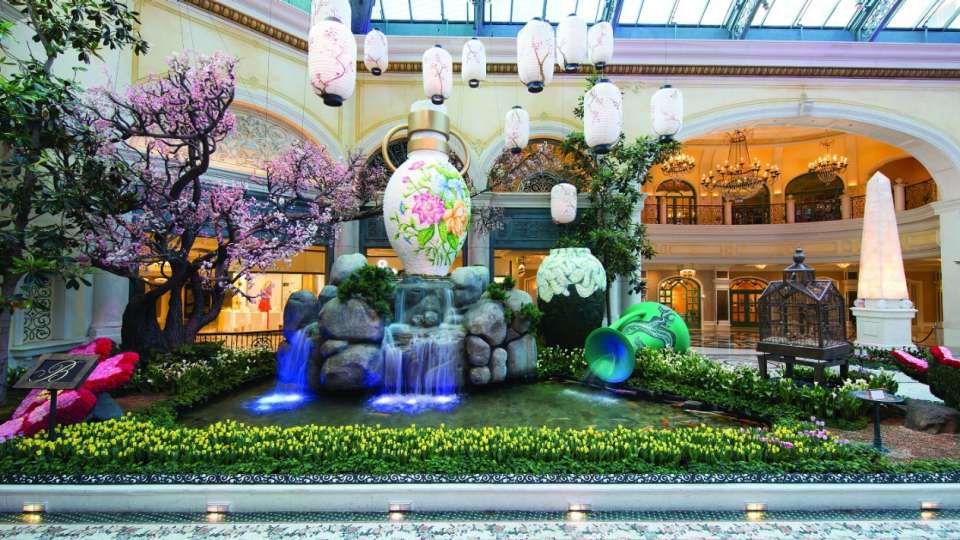 Característica asiática del agua en el lobby del Bellagio Las Vegas