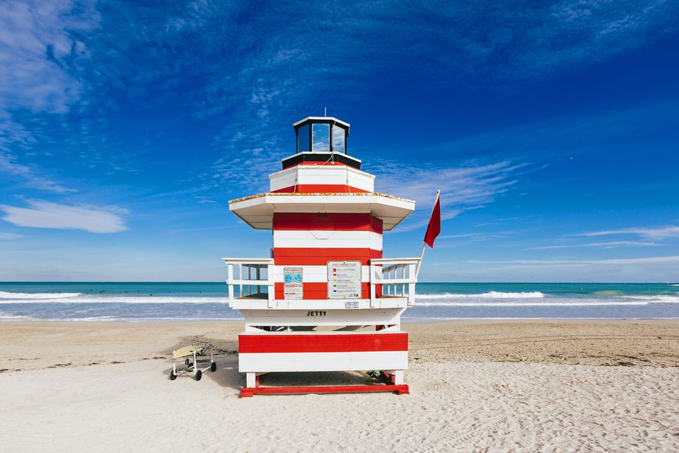 Red And White Striped Liuard Hut Stylized As Lighthouse In South Beach Miami Florida