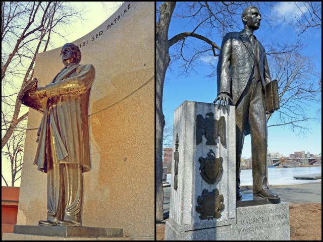 David Walsh and Maurice Tobin Statues Boston Esplanade