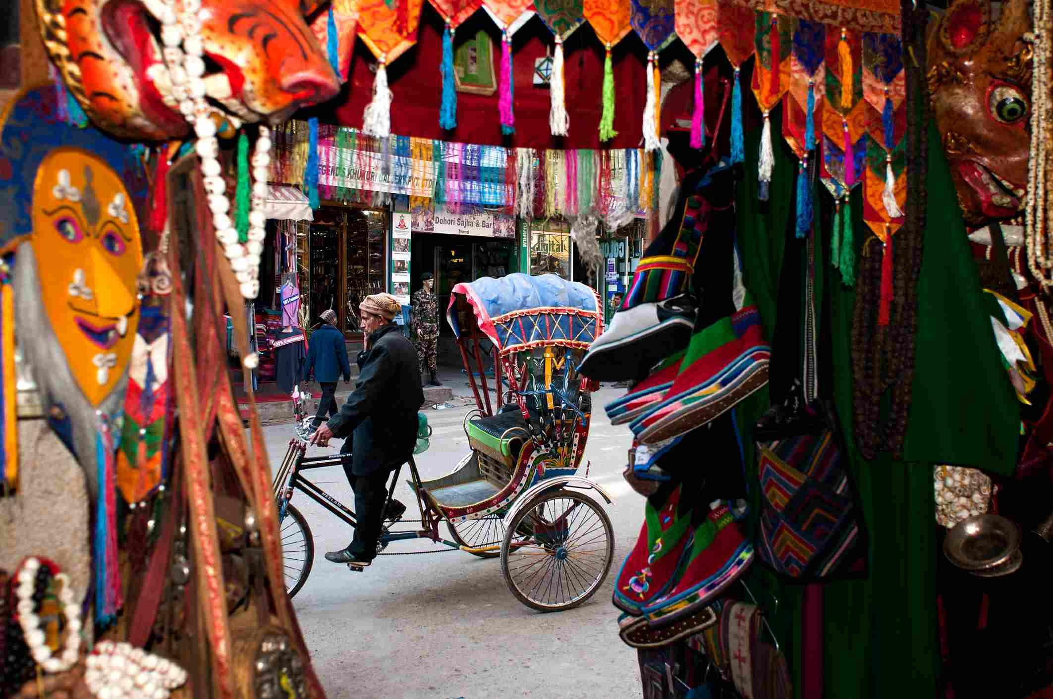 Rickshaw outside craft shop in Thamel, Kathmandu.