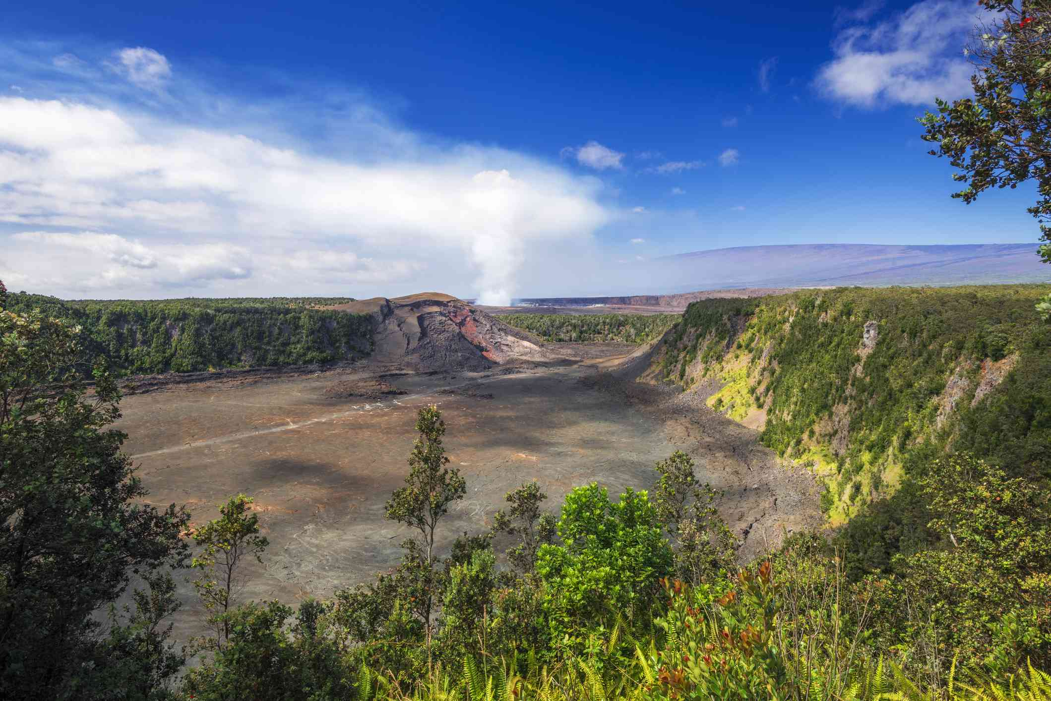 Landscape with Kilauea Iki and steam from Halemaumau Crater