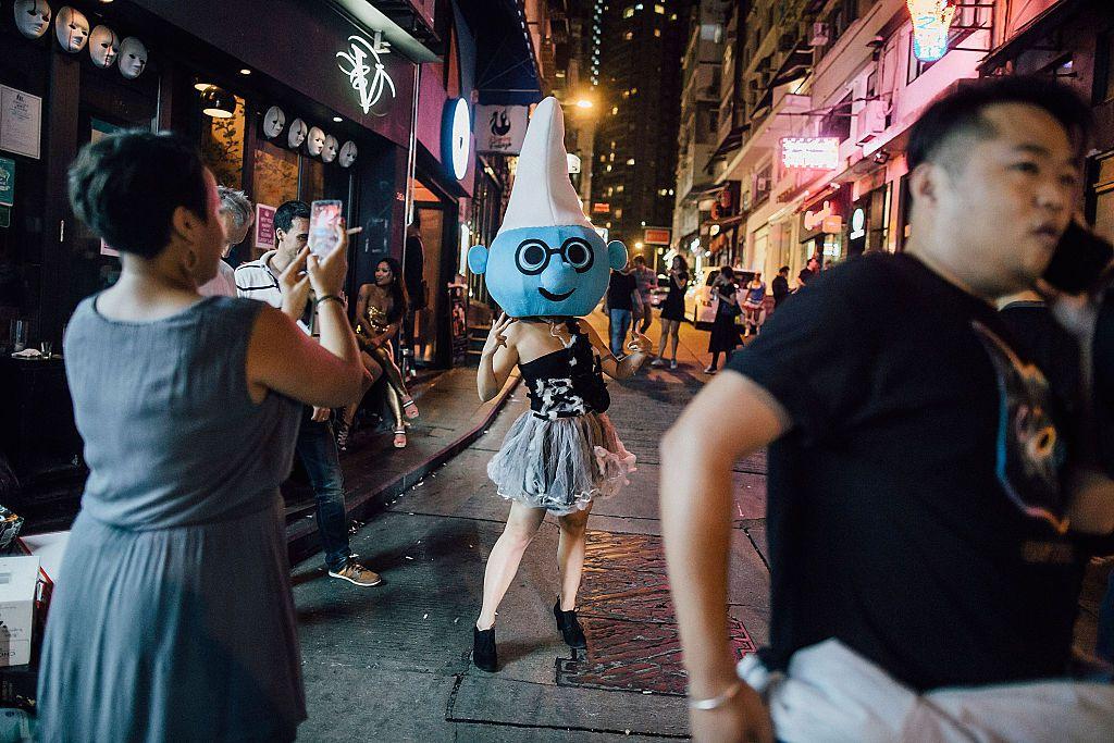 Smurf-headed Halloween reveler in Hong Kong