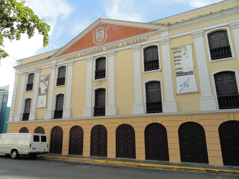 Puerto Rico street scene with Teatro Tapia