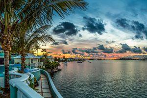 Bermuda hotel at sunset