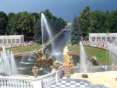 The Grand Cascade Fountains at Peterhof, Peter the Great's Summer Palace near St. Petersburg