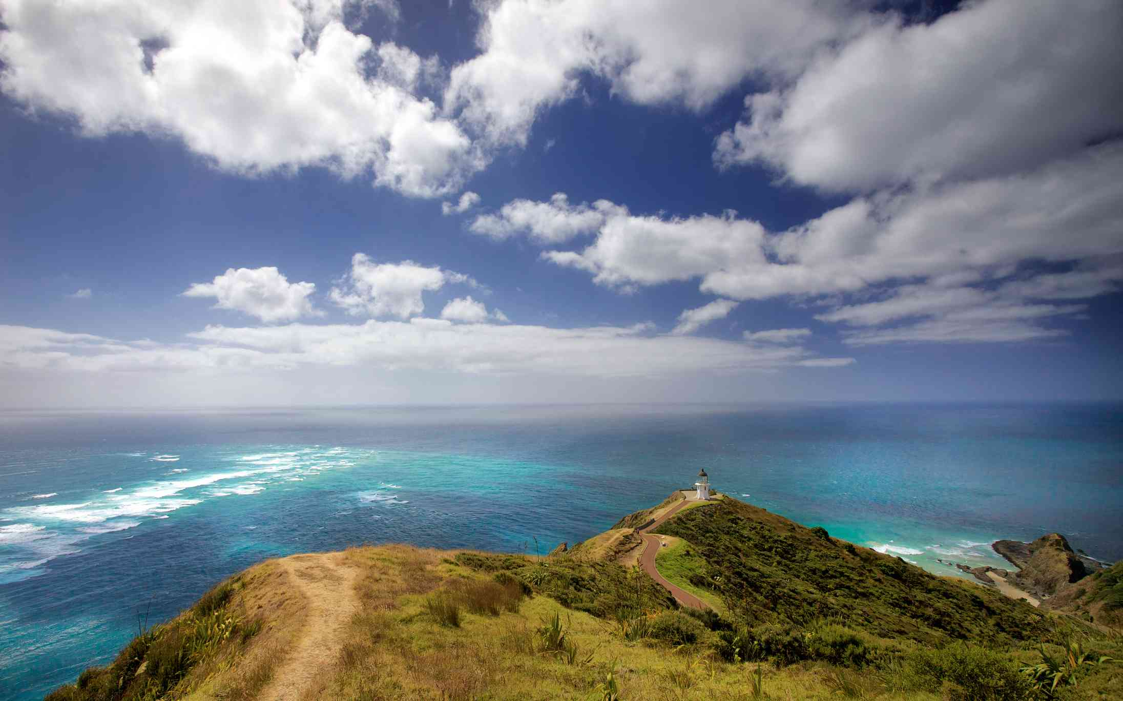 An aerial view of Cape Reinga's lighthouse.