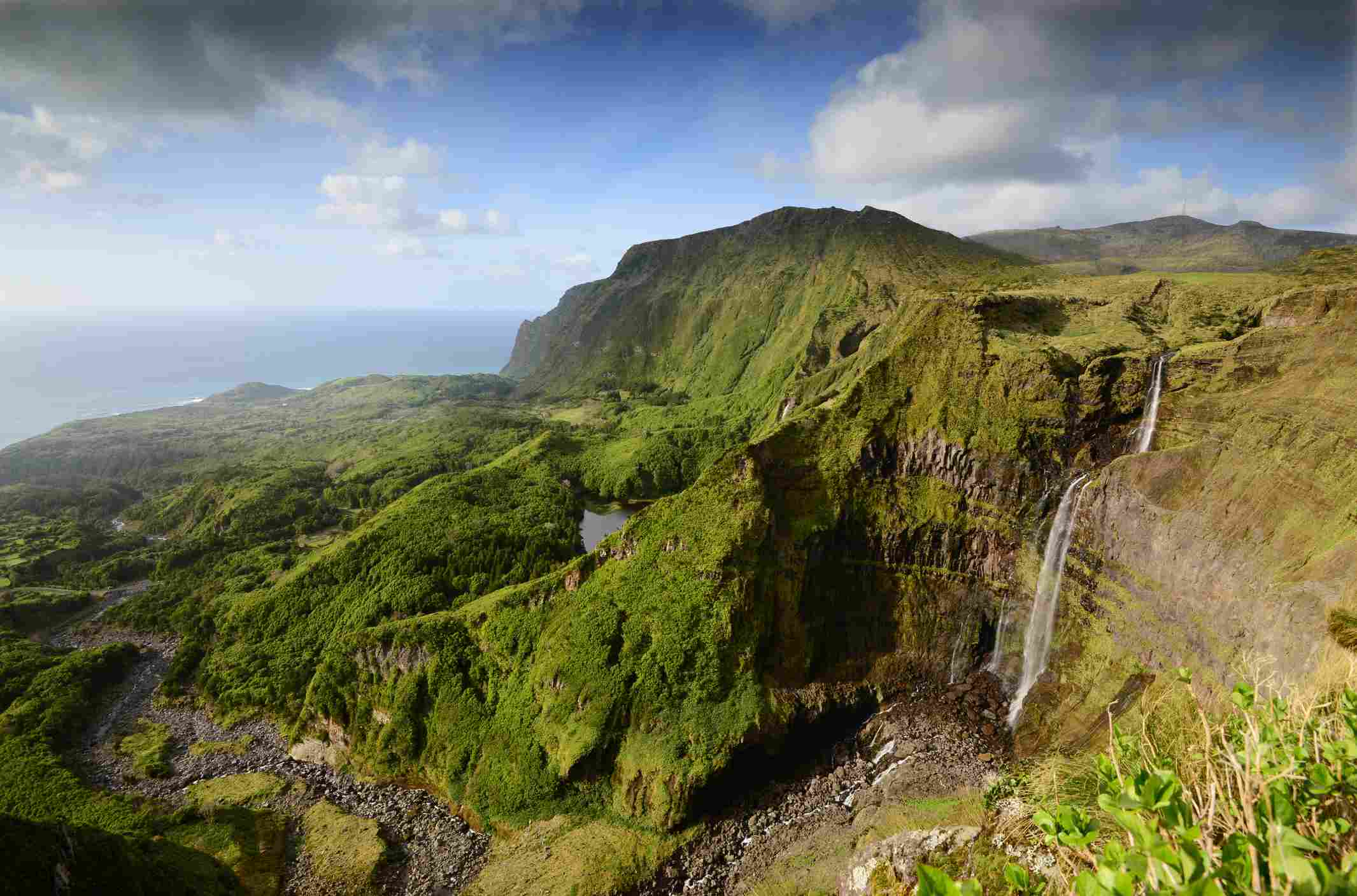 Dramatic landscapes and Ribeira Grande waterfall in Flores island,