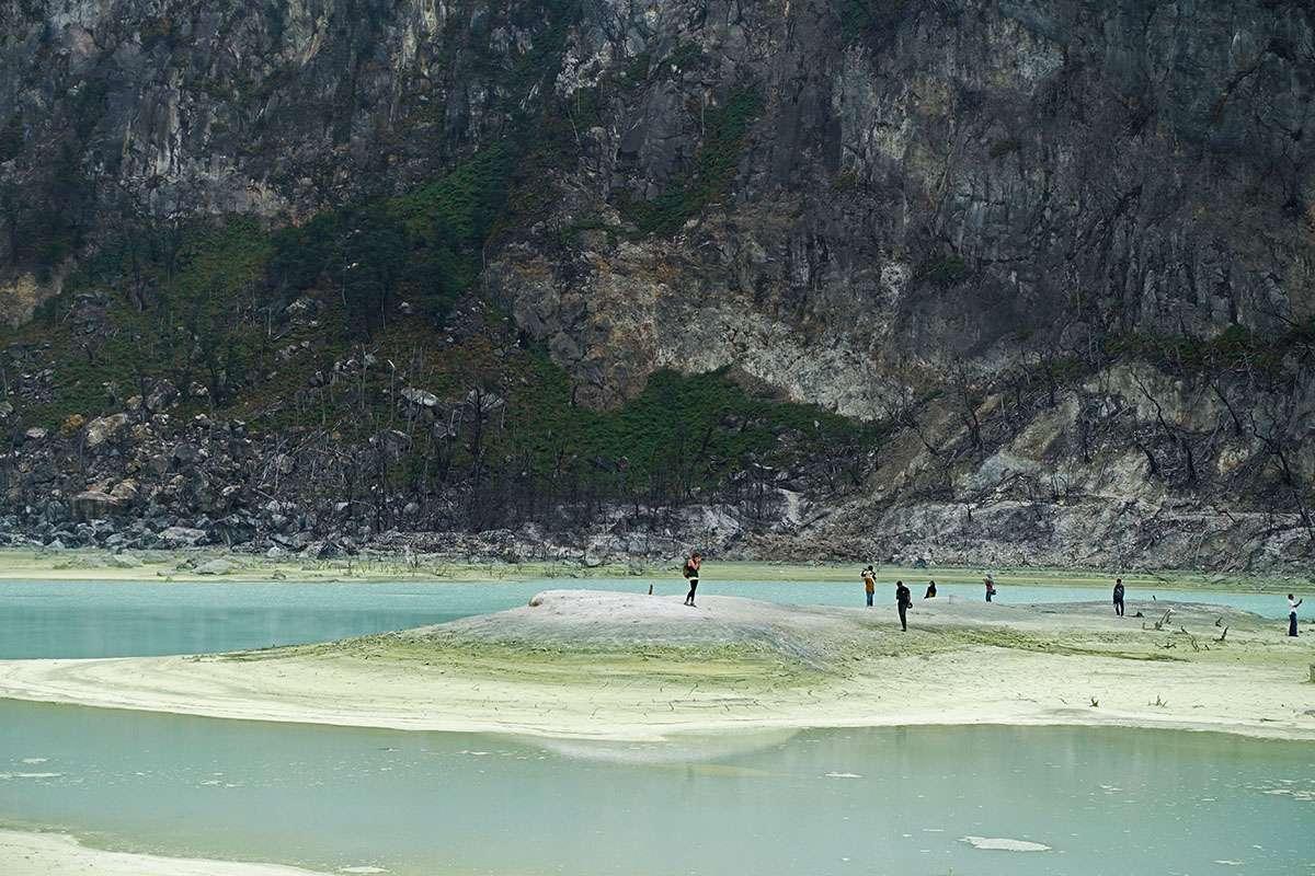 The volcanic lake at Kawah Putih, Bandung, Indonesia