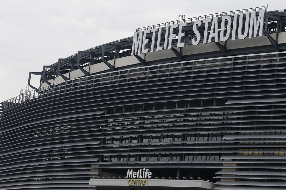 Louvred exterior of MetLife Stadium, the Meadowlands in East Rutherford, New Jersey