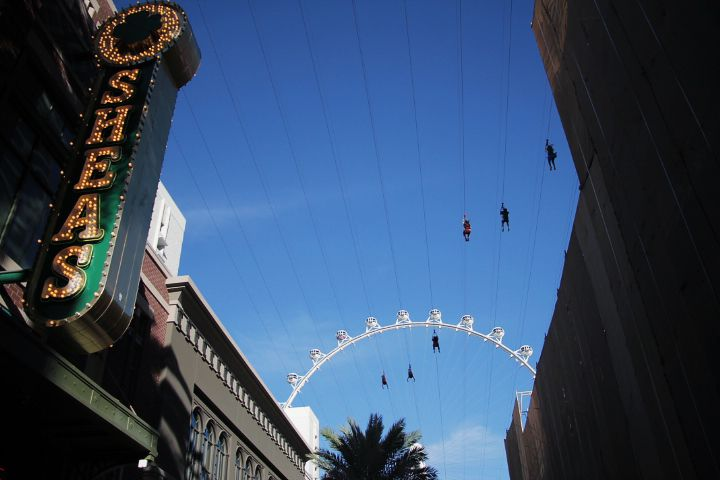 People on ziplines with the HighRoller behind them