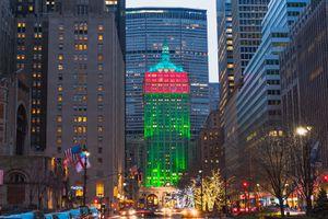 Christmas decorations on Manhattan, New York City, New York State, USA