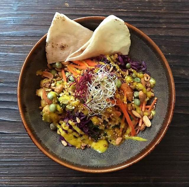 Colorful rice bowl with carrots, lima beans, red cabbage, peanuts, and two slices of pita bread