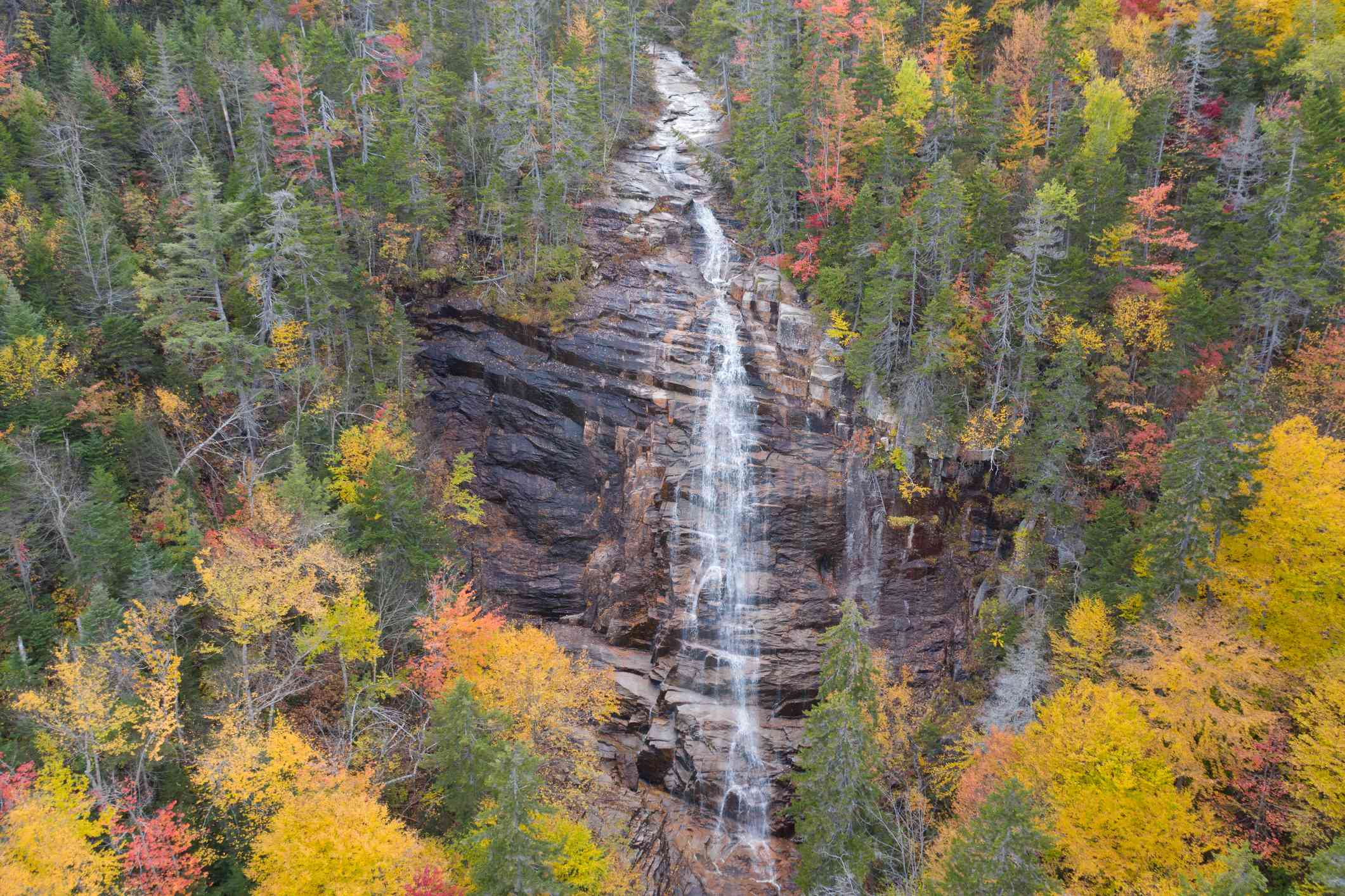 waterfall going down rocks in a forest of autumn trees