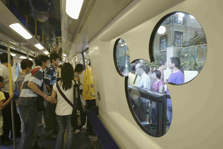 Disney train at the Hong Kong Disneyland station