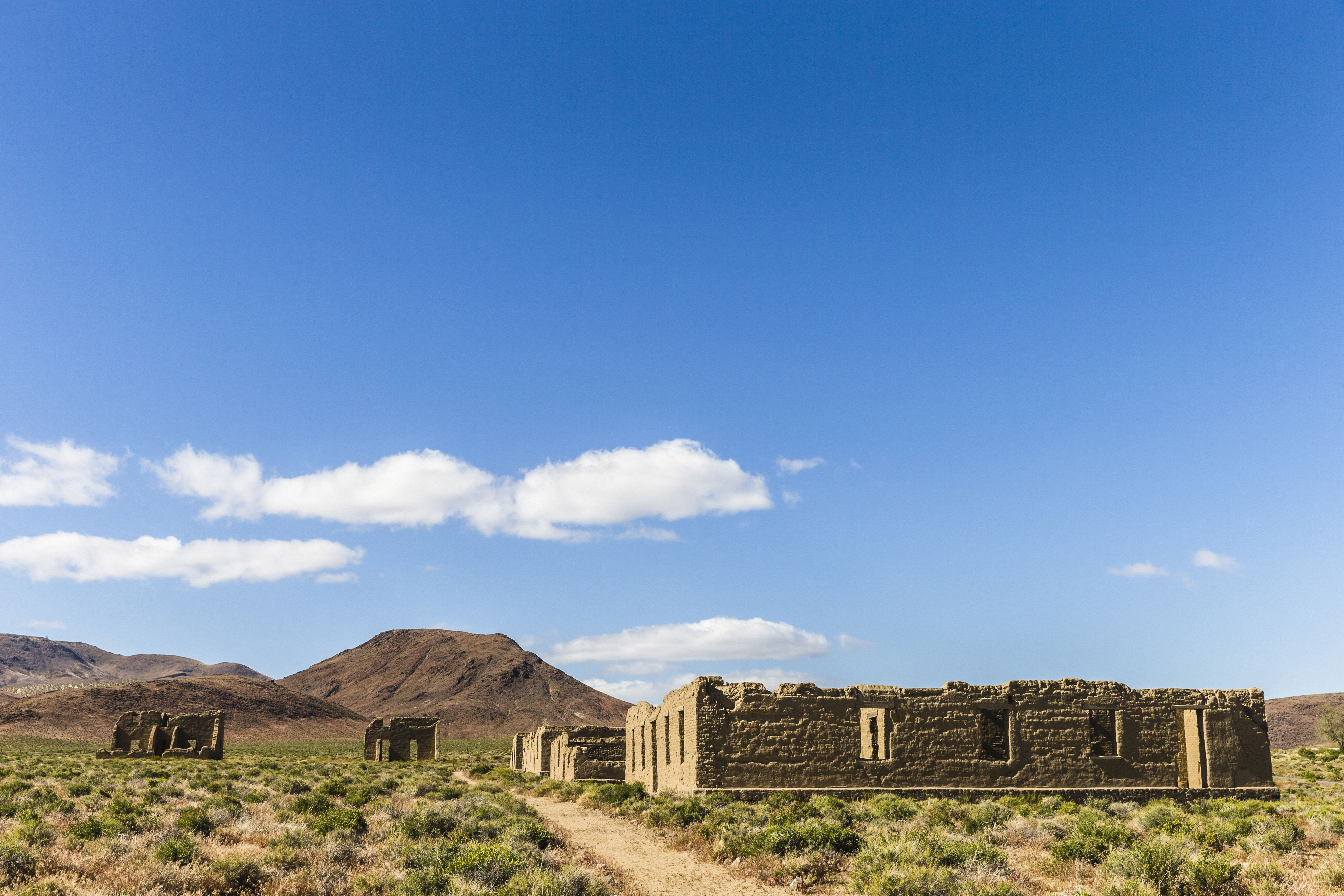 Remains of old adobe buildings at Fort Churchill State Historic Park, Silver Springs, Nevada, USA