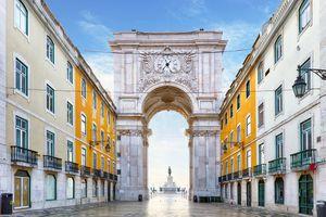 Famous arch at the Praca do Comercio, Lisbon, Portugal