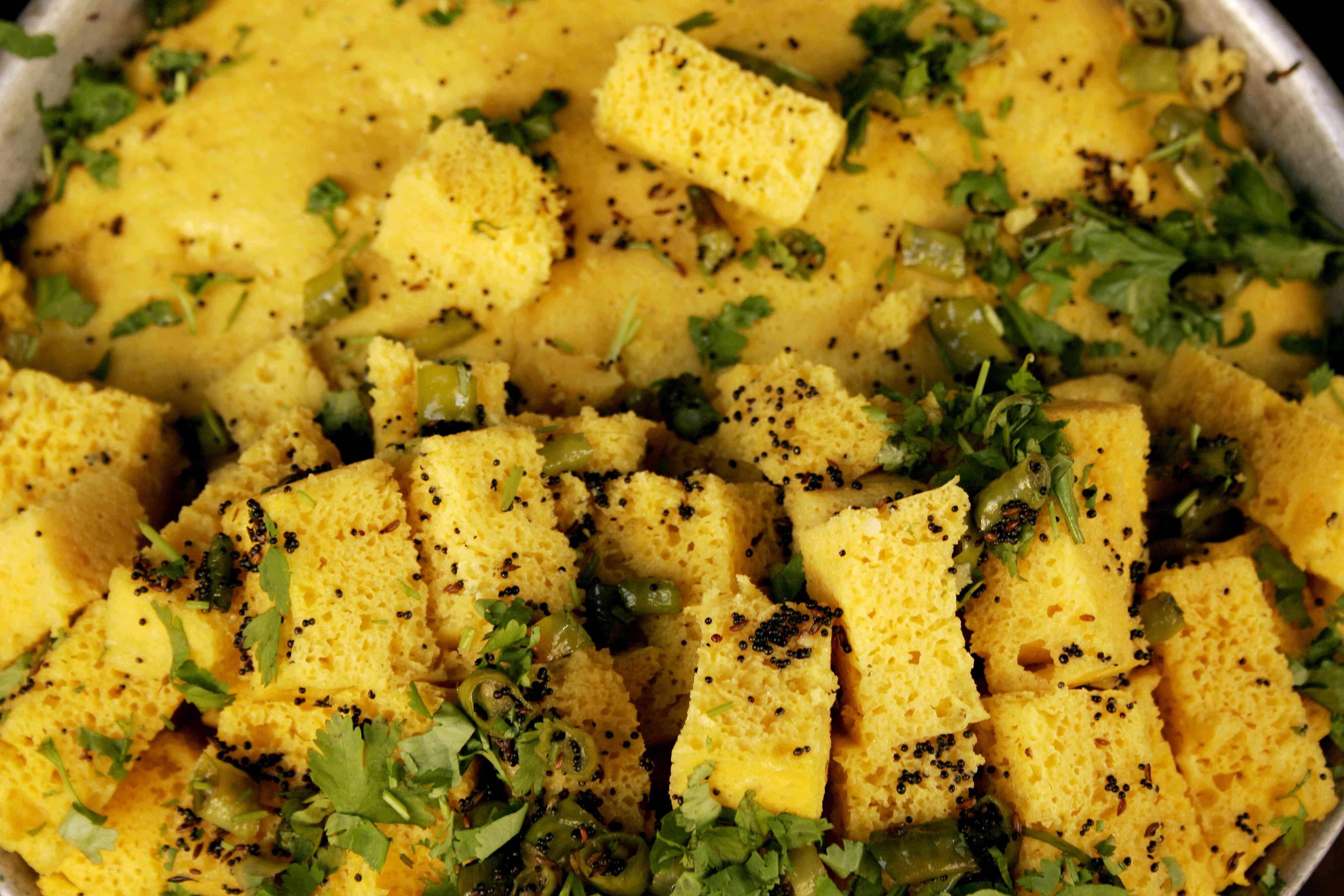 Indian snack called khaman dhokla in Nathdwara, Rajasthan, India.