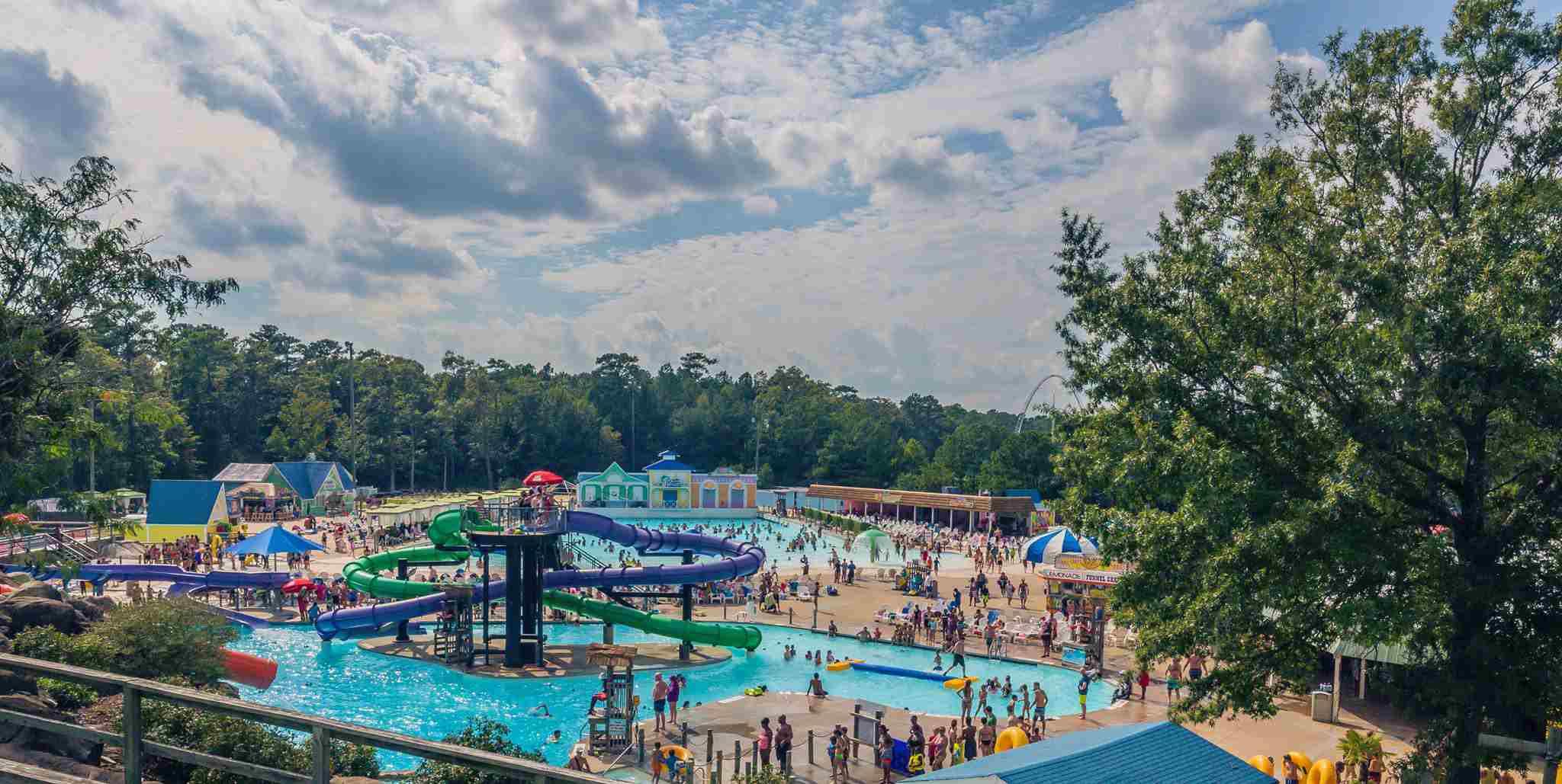 aerial shot of slides and pools at Ocean Breeze Waterpark