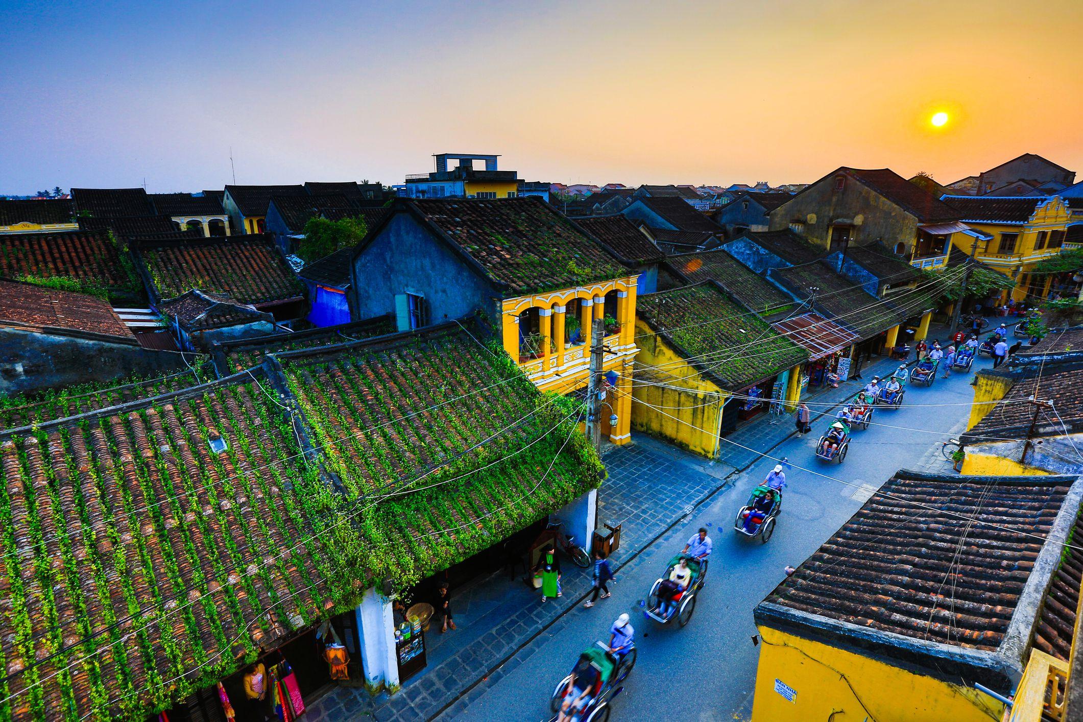 Sunset in Hoian ancient town, Vietnam