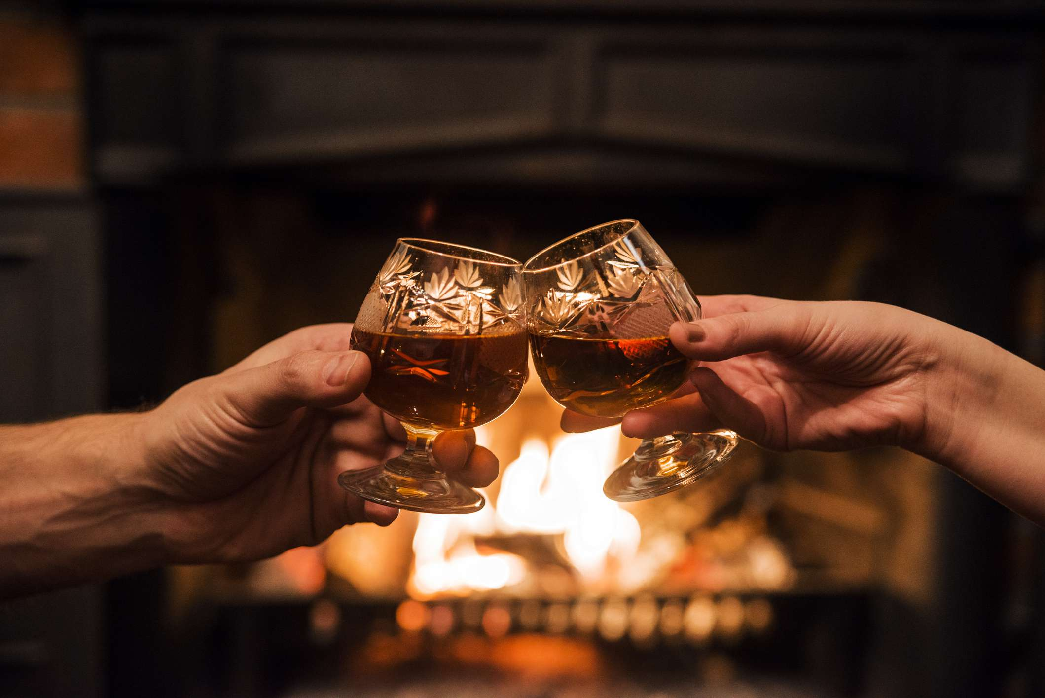 Toasting in front of a fire