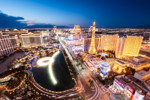 Las Vegas illuminated at night, Nevada, USA