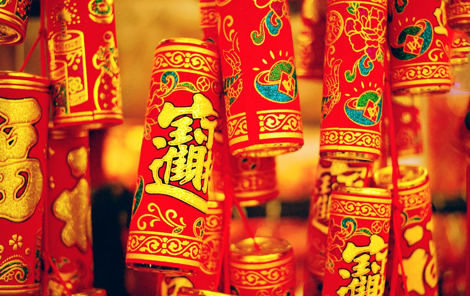 Red firecrackers on Lunar New Year, the biggest winter festival in Asia