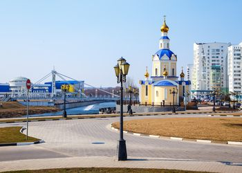 embankment of small town Belgorod Russia spring