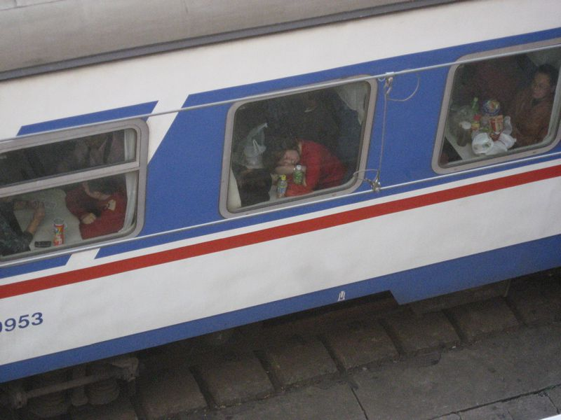 Chinese woman on train