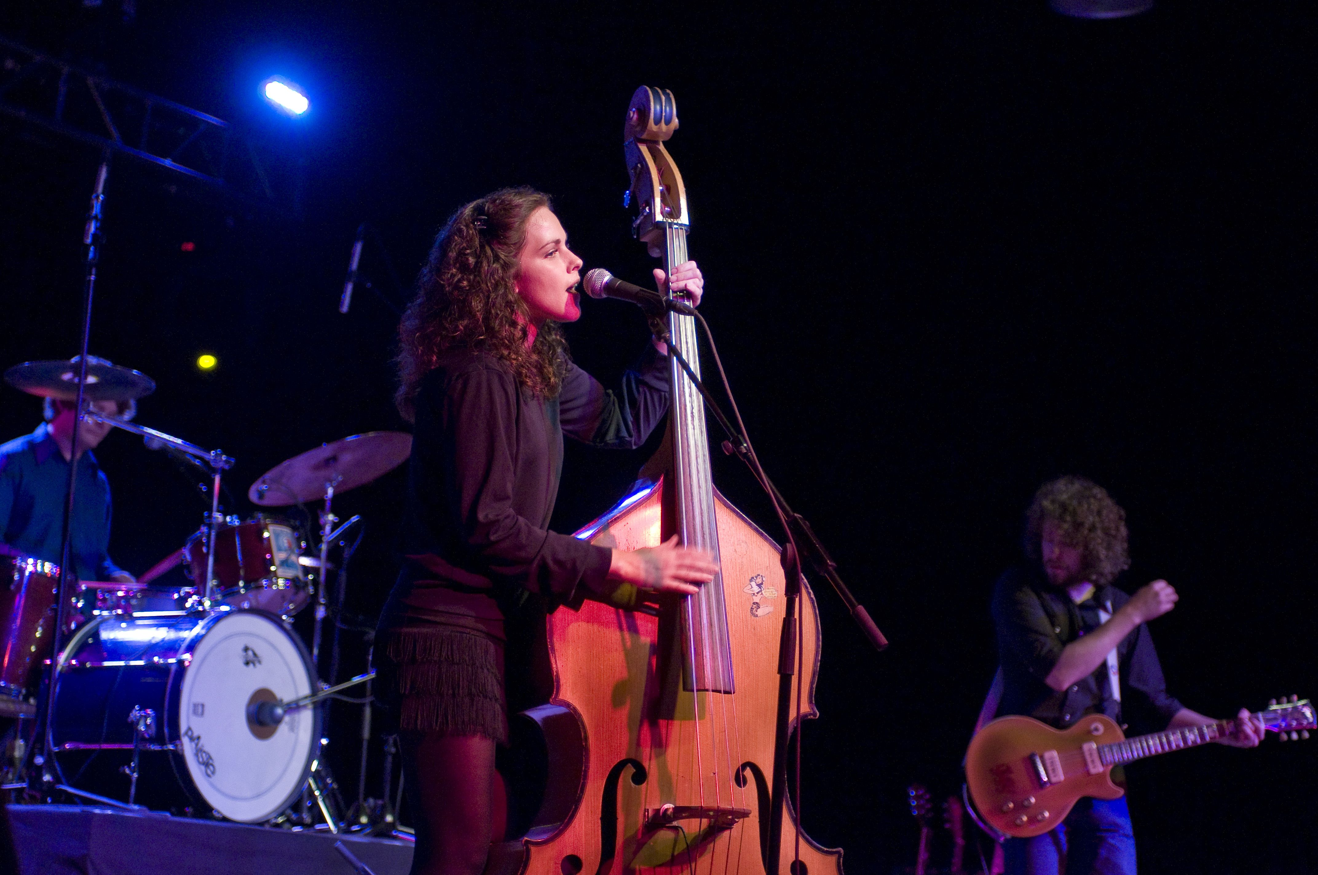 Amy LaVere and Steve Selvidge with Paul Taylor on drums performing at Minglewood Hall in Memphis