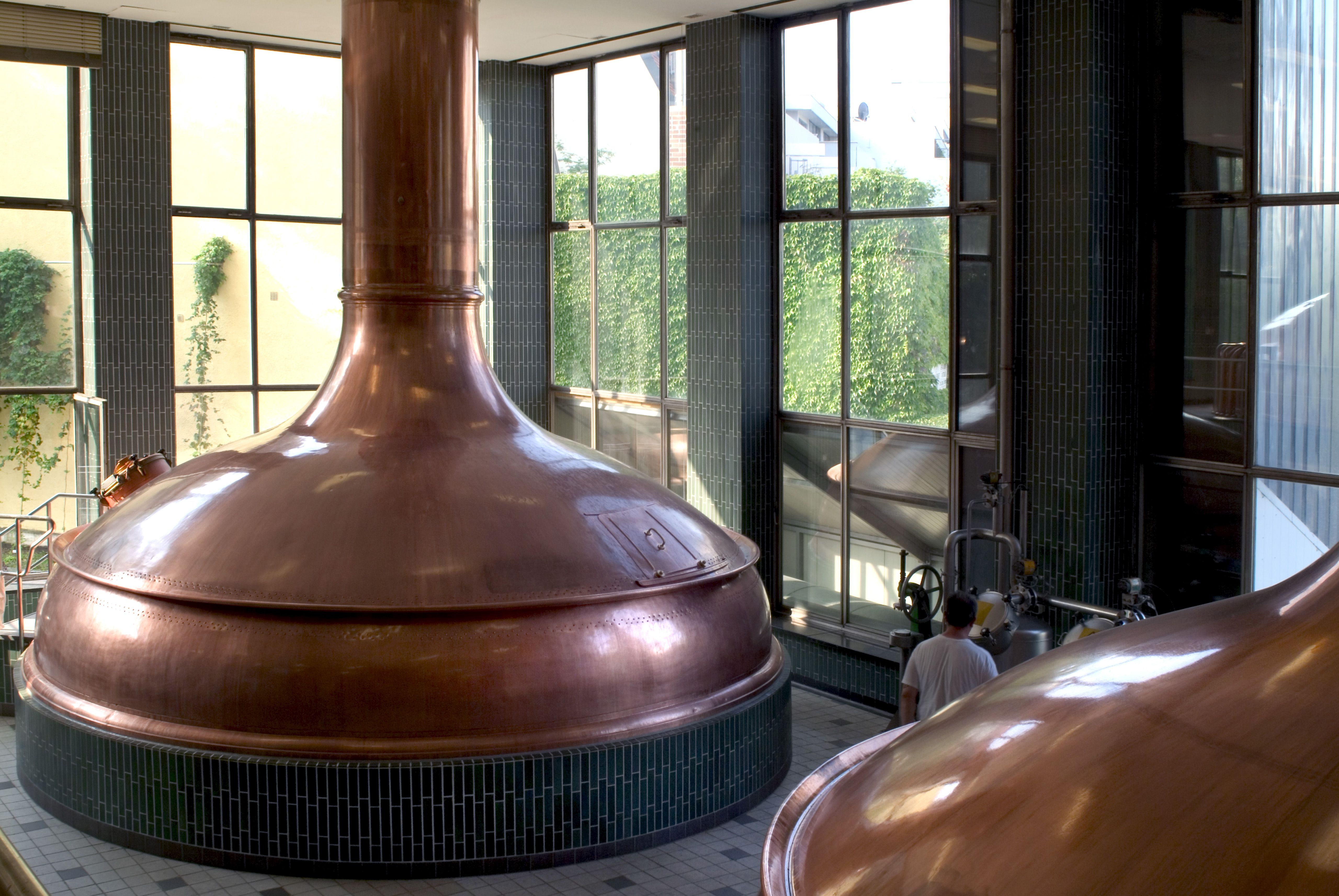 Copper brew kettles at Paulaner Brauerei in Munich