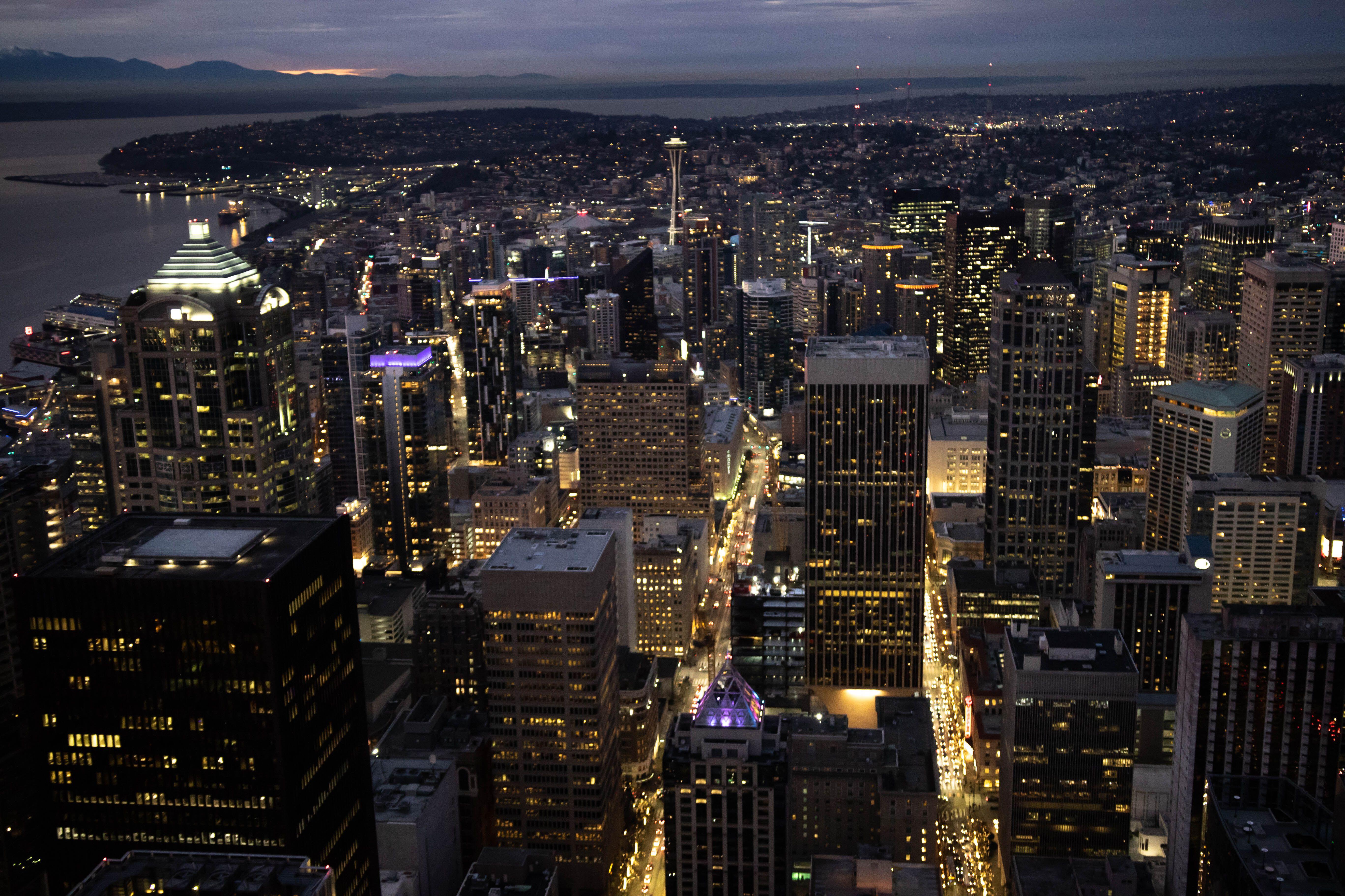 Seattle skyline lit at night